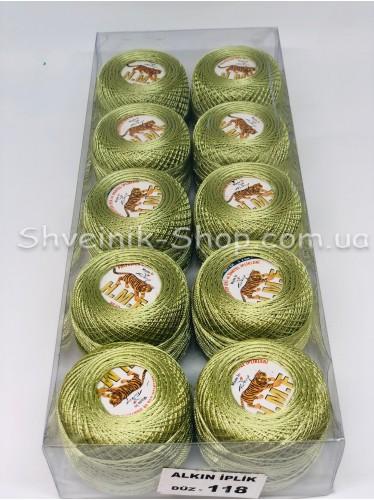 Нитка ирис (Для вышивания)  цвет : Оливка  в упаковке 10 штук