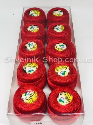 Нитка ирис (Для вышивания)  цвет :  Красный  в упаковке 10 штук