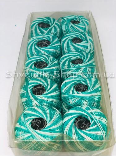 Нитка ирис (Для вышивания) ХБ цвет : Меланж Зеленый + Белый в упаковке 10 штук
