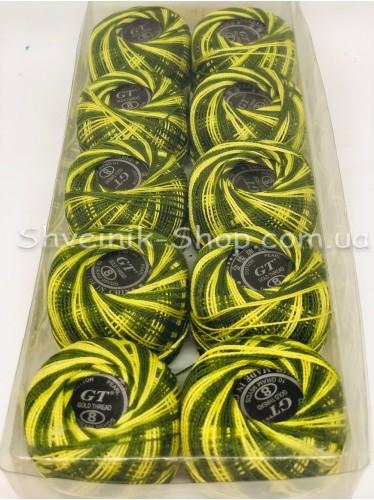 Нитка ирис (Для вышивания) ХБ цвет : Меланж Темно + Салатовый в упаковке 10 штук