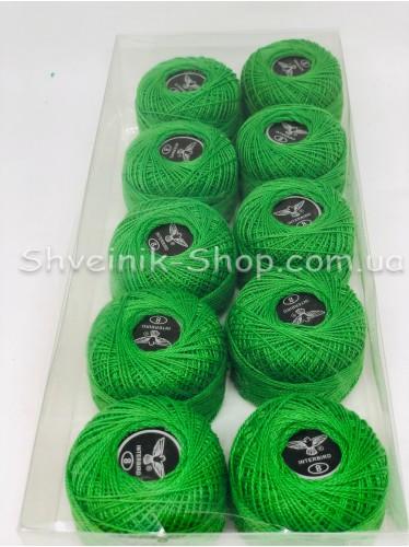 Нитка ирис (Для вышивания) ХБ цвет : Зеленый в упаковке 10 штук