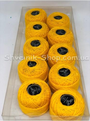 Нитка ирис (Для вышивания) ХБ цвет : Желтый в упаковке 10 штук