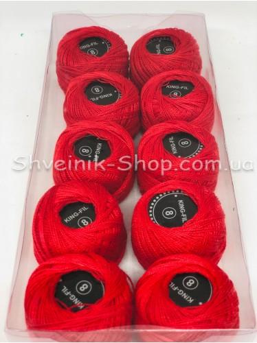 Нитка ирис (Для вышивания) ХБ цвет : Красный в упаковке 10 штук