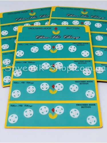 Кнопка Пришивная Пластиковая Размер 0,9 см Цвет Белый в Упаковке 6 листов 144 кнопки