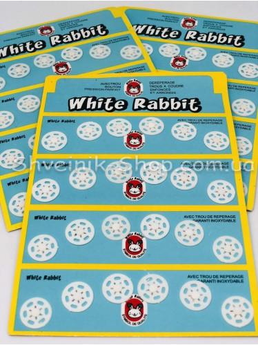 Кнопка Пришивная Пластиковая Размер 1,3 см Цвет Белый в Упаковке 6 листов 144 кнопки