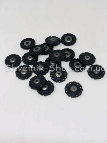 Кнопка Пришивная Ажурная Пластиковая Размер 2 см Цвет Черный в Упаковке 100 штук