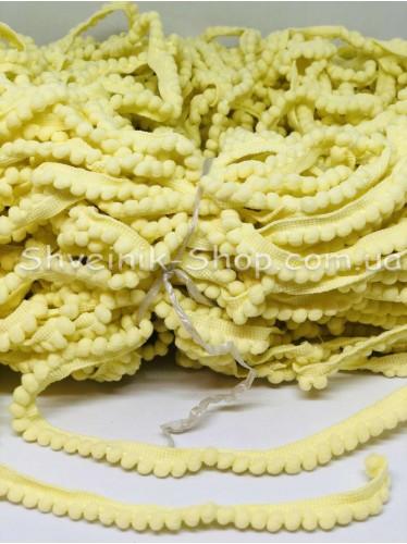 Тесьма шарики пумпоны мелкие ширина 1 см в упаковке 92метра цена за упаковку Цвет Светло Желтый