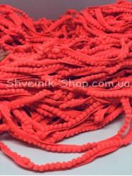 Тесьма шарики пумпоны мелкие ширина 1 см в упаковке 92метра цена за упаковку Цвет Ярко Кораловый
