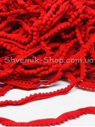 Тесьма шарики пумпоны мелкие ширина 1 см в упаковке 92метра цена за упаковку Цвет Красный