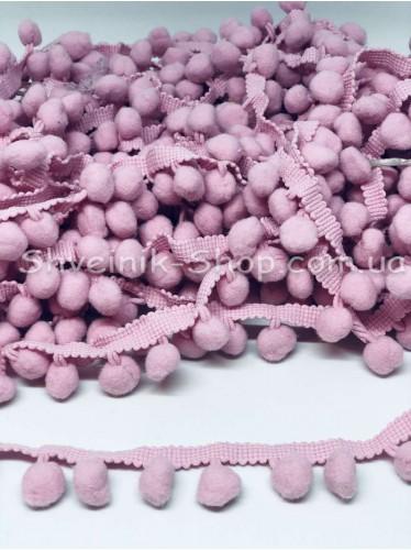 Тесьма шарики пумпоны Большие на тисьме ширина 2,5 см в упаковке 18,2 метра цена за упаковку Цвет Розовый