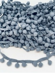 Тесьма шарики пумпоны Средние на тисьме ширина 2,5 см в упаковке 18,2 метра цена за упаковку Цвет Серый