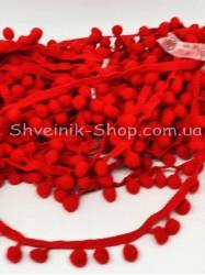 Тесьма шарики пумпоны Средние на тисьме ширина 2,5 см в упаковке 18,2 метра цена за упаковку Цвет Красный