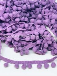Тесьма шарики пумпоны Средние на тисьме ширина 2,5 см в упаковке 18,2 метра цена за упаковку Цвет Светло Сиреневый