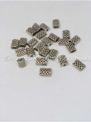Наконечник Ажурный (Пластиковый) Цвет Серебро Размер 14мм   диаметр 3 мм в упаковке 500 штук