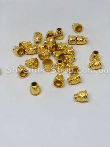 Наконечник Ажурный (Пластиковый) Цвет Золото Размер 13мм   диаметр 5 мм в упаковке 500 штук