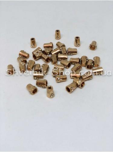 Наконечник (Металлический Камень) Цвет Золото Размер 10мм   диаметр 3мм в упаковке 100 штук