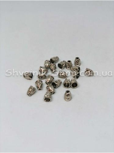 Наконечник Ажурный (Металлический ) Цвет Серебро Размер 10мм   диаметр 2 мм в упаковке 500 штук
