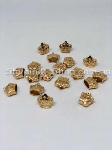 Наконечник Корона (Металлический ) Цвет Золото Размер 14мм   диаметр 6 мм в упаковке 200 штук
