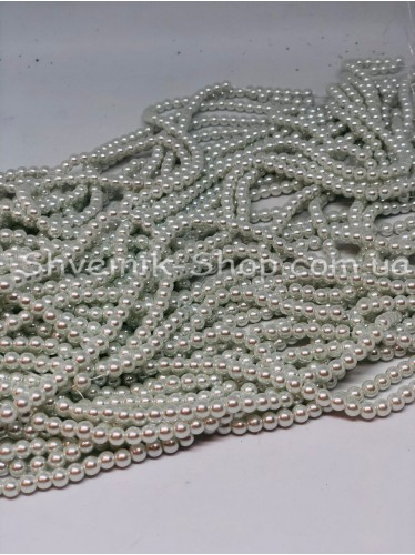Жемчуг Керамика на нитке Размер 6мм Цвет  Белый в упаковке 1 кг 20 ниток