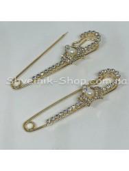 Булавка Декоративная с камнем Корона  в упаковке 25 штук Длина 7,5 см Цвет : Золото