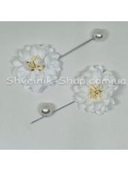 Брошка Шпилька Цветок в упаковке 50 штук Длина 8 см Цвет : Белый