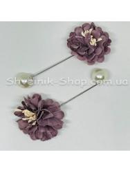 Брошка Шпилька Цветок в упаковке 50 штук Длина 8 см Цвет : Тёмный Фрез
