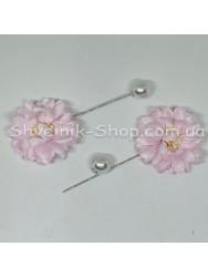 Брошка Шпилька Цветок в упаковке 50 штук Длина 8 см Цвет : Розовый