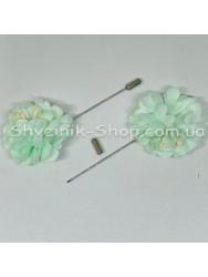 Брошка Шпилька Цветок в упаковке 50 штук Длина 8 см Цвет : Салатовый