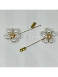 Брошка Шпилька с камнем Цветок в упаковке 25 штук Длина 6,0 см Цвет : Золото