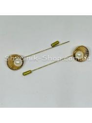 Брошка Шпилька с камнем Ракушка в  упаковке 25 штук Длина 8,0 см Цвет : Золото