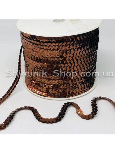 Паетка на нитке в бобине цвет Ломаная коричневая в упаковке 92м