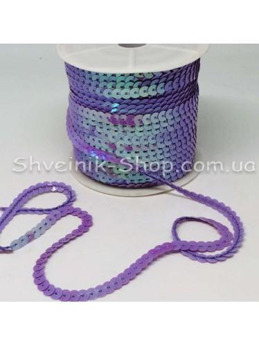 Паетка на нитке в бобине цвет Сиреневая с блеском в упаковке 92м