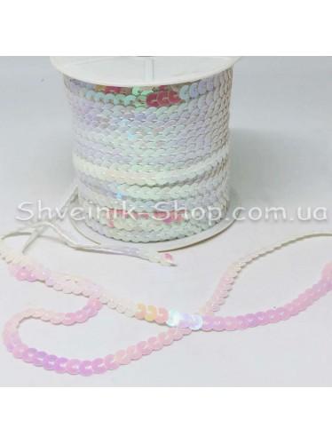Паетка на нитке в бобине цвет  Белая с блеском в упаковке 92м