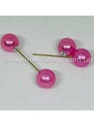 Брошка Шпилька Шарик в  упаковке 50 штук Длина 5,0 см Цвет : Розовый