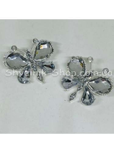 Брошка Бабочка Размер : 2,5*3,5 cm Цвет Серебро  в упаковке 50 штук цена за упаковку