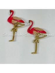 Брошка Фламинго Размер : 5*3 cm Цвет Золото+ Розовый  в упаковке 50 штук цена за упаковку