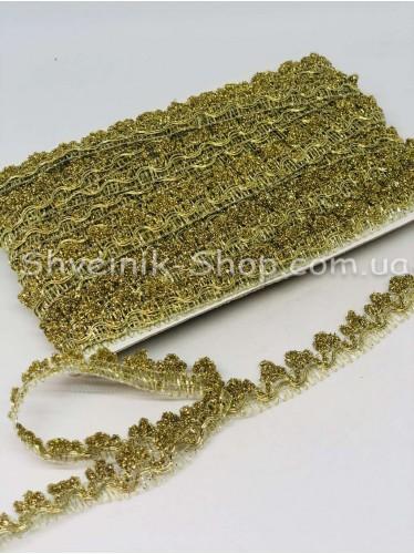 Тесьма Коронка Ширина : 19мм цвет Золото в упаковке 18,2 метра