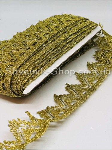 Тесьма Коронка   Ширина : 5см цвет Золото  в упаковке 18,2 метра