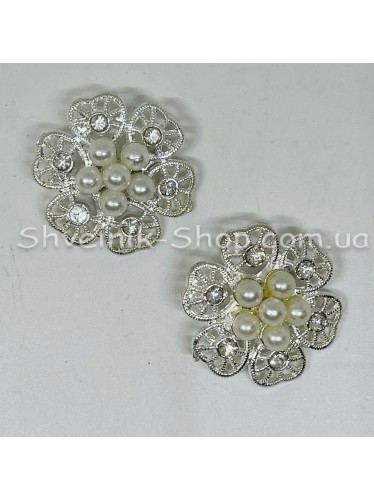 Брошка Круглая Размер : 3 cm Цвет: Серебро в упаковке 50 штук цена за упаковку
