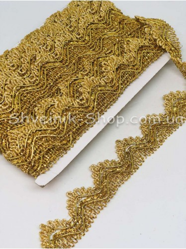 Тесьма Коронка   Ширина : 3,5см цвет Золото в упаковке 18,2 метра