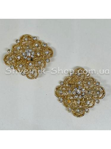 Брошка Квадрат Размер : 2,5 cm Цвет: Золото в упаковке 50 штук цена за упаковку