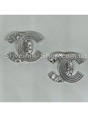 Брошка Шанель Размер :2,5*2,5 cm Цвет: Серебро в упаковке 50 штук цена за упаковку