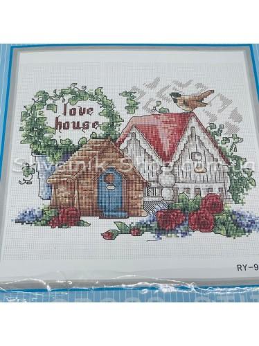 Набор Вышивка  Домик в Набор входит : Схема , Канва , Мулине  , Иголка Размер ширина 19 см Высота 19 см