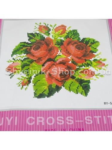 Набор Вышивка  Роза в Набор входит : Схема , Канва , Мулине  , Иголка Размер ширина 19 см Высота 19 см