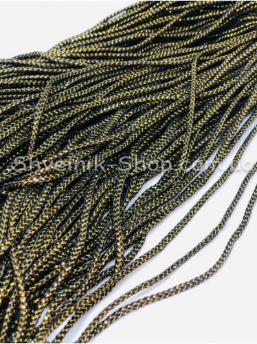 Шнур спорт с люрексом  4 мм цвет: Черный с золотом в упаковке 100м цена за упаковку