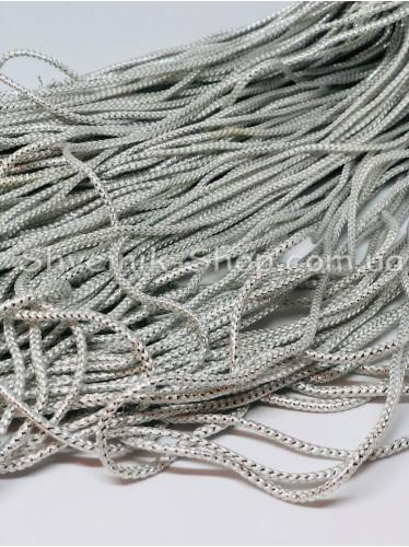 Шнур спорт с люрексом  4 мм цвет: Белый с серебром в упаковке 100м цена за упаковку