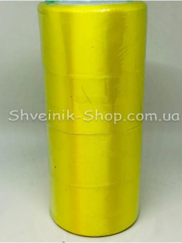 Лента атласная (Сатиновая лента) Ширина 5 см Цвет: Жёлтая в упаковке 92 метра цена за упаковку