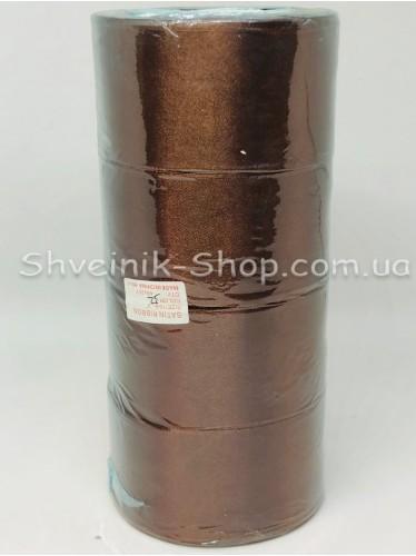 Лента атласная (Сатиновая лента) Ширина 5 см Цвет: Коричневый в упаковке 92 метра цена за упаковку