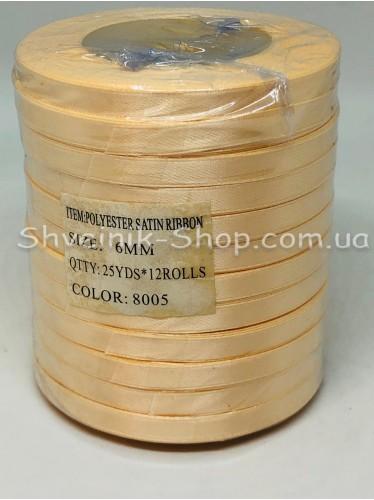 Лента атласная (Сатиновая лента) Ширина 0,6см Цвет: Крем  в упаковке 276 метров цена за упаковку