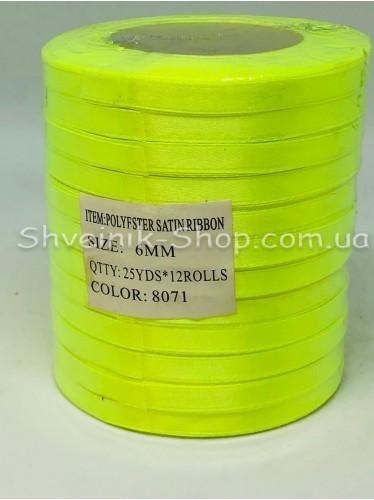 Лента атласная (Сатиновая лента) Ширина 0,6см Цвет: Неоново Салатовый  в упаковке 276 метров цена за упаковку